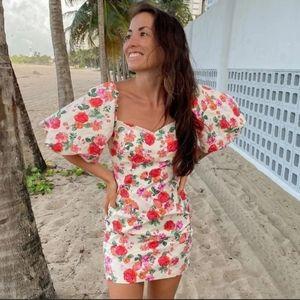 Zara floral print balloon sleeves dress